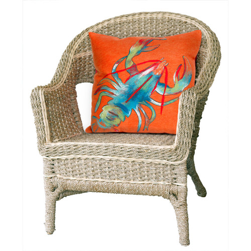 Visions II Orange Lobster Indoor/Outdoor Throw Pillows - 2 Sizes Avail