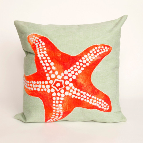 Visions II Seafoam Starfish Indoor/Outdoor Throw Pillows - 2 Sizes Avail