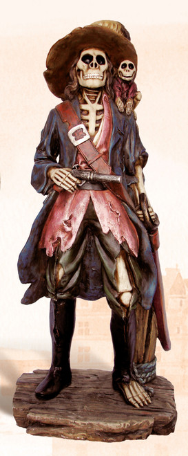 "Pirate Skeleton Captain - Polystone Figurine - 25"""