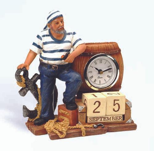 Sailor Nautical Desk Clock with Calendar