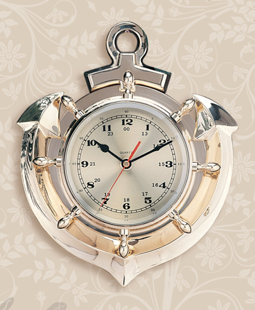 "(110) 13"" Polished Brass Premium Anchor Clock"