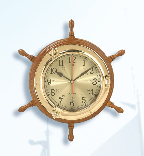 Porthole  Clock in Nautical Ship Wheel