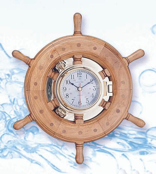 Porthole Clock in Nautical Ship Wheel - Wide Rim