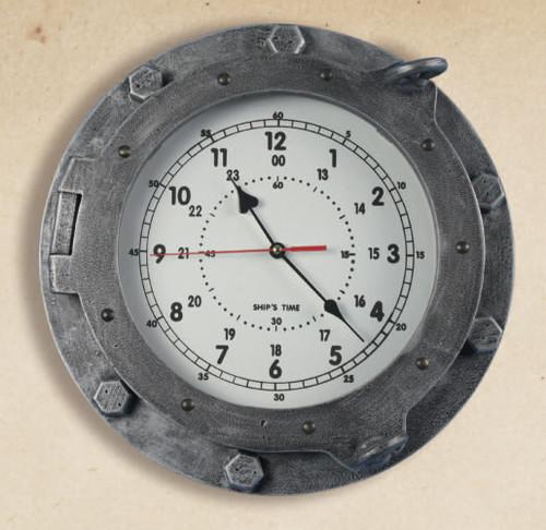 """Antique Finish Wooden Porthole Clock 14"""""""