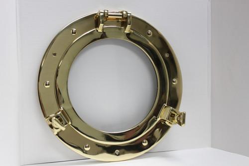 """(BP-701C-17) 17"""" Solid Polished Brass Porthole Window"""