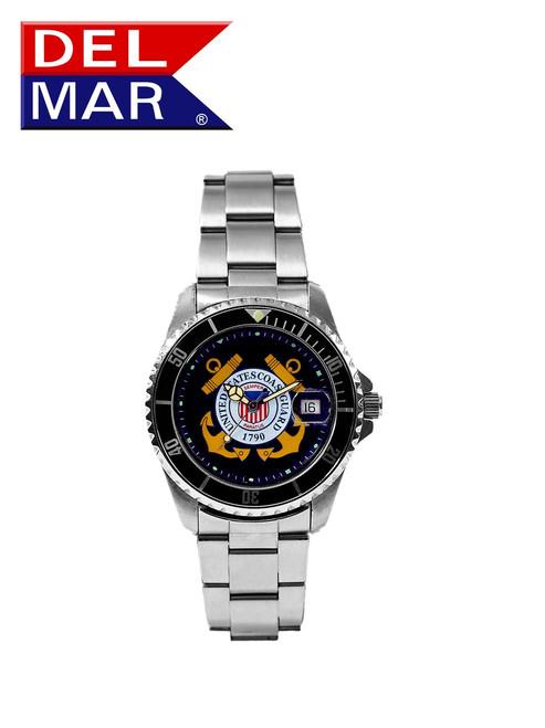 Del Mar Men's 200M Stainless Steel Military Sport Dive Watch - U. S. Coast Guard