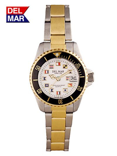 Del Mar Women's 200M Stainless Steel Classic Dive Watch with Nautical Flag Dial Watch - Two Tone