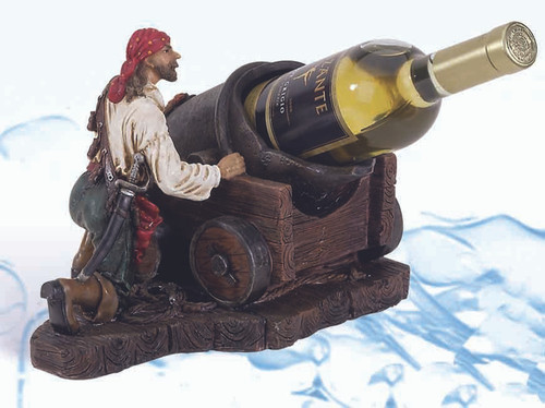 "(BH-51) 8.25"" Pirate with Cannon Bottle Holder"