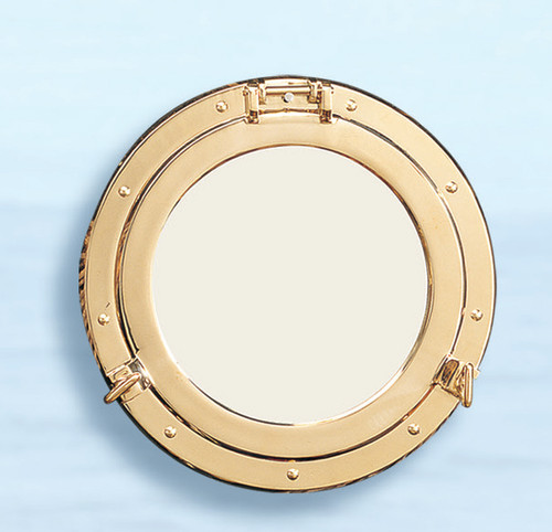 "(BP-701-21)  21"" Solid Polished Brass Porthole Mirror"