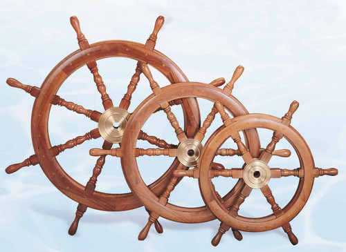 "(SW-101-24-D) 24"" Deluxe Wooden Ship Wheel"