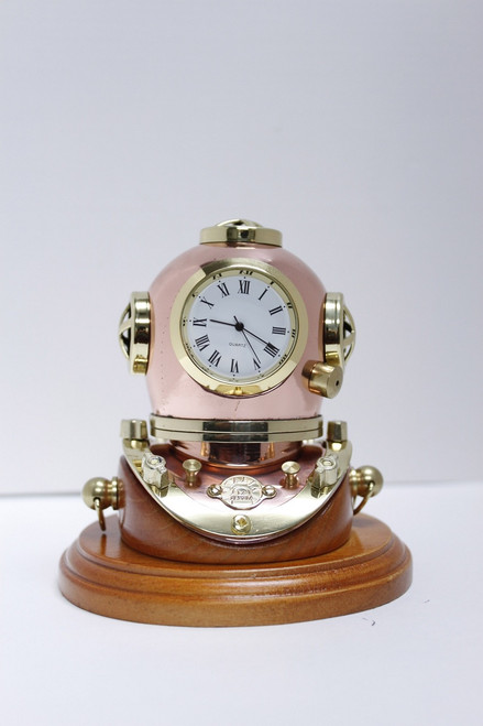 Deluxe Brass Mark V Diver's Helmet Clock with Wooden Base - 3""