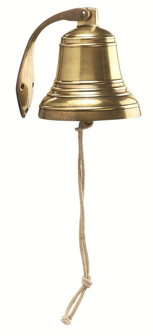 "(F6044) 6.25"" Aluminum Ship Bell with Antique Brass Finish"