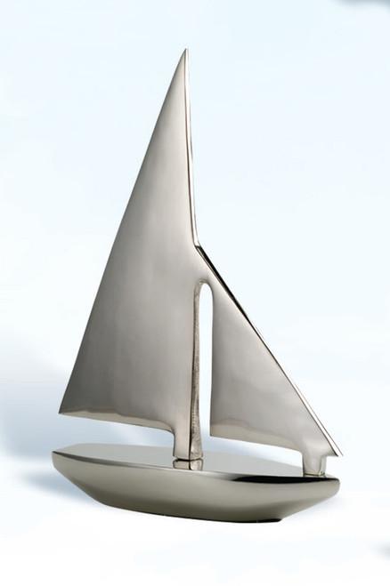 "(BW-632) 12"" Aluminum Sailboat with Nickel Finish"