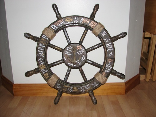 Nautical Ship Wheel Decor - Antique Finish - 24""