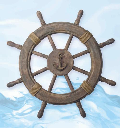"Nautical Ship Wheel Decor - Antique Finish 24"""