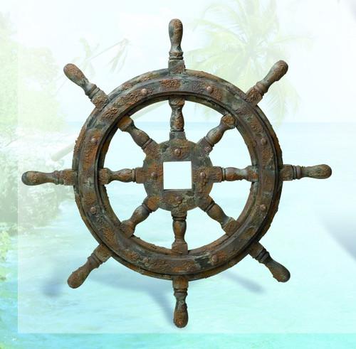 "Nautical Ship Wheel Decor with Antique Finish 27"""