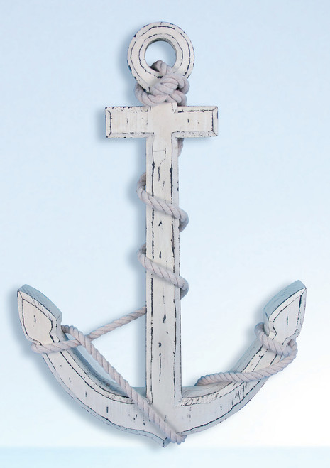 Antique Wooden Anchor  - White Washed