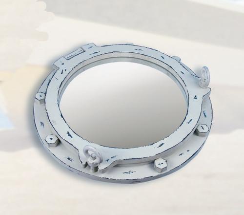 "Antiqued Wooden Porthole Mirror 17"" - White"