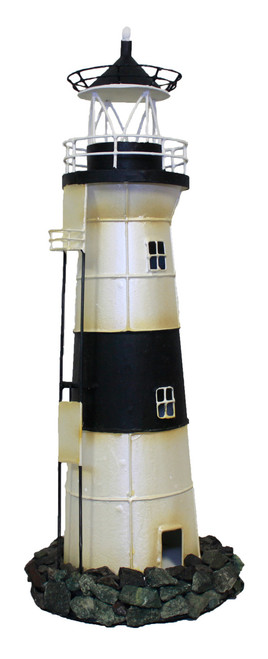 Black and White Lighthouse Nautical Candle Holder