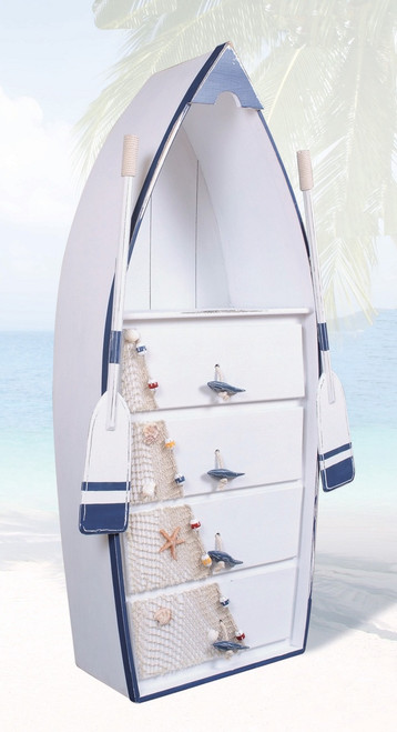 "(BC-06)  53"" 4 Drawer Blue and White Rowboat Dresser with Shelf, Fishnet, Fisherman's Rope, Oars, Buoys, Starfish, and Shell Accents"