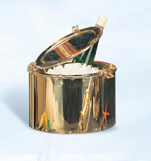 """(IB-701) 12"""" Brass Porthole Insulated Ice Bucket"""
