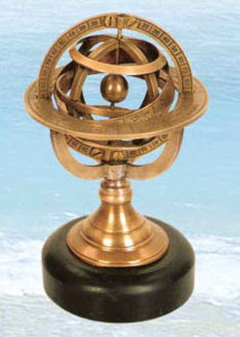 (BW-589) Brass Armillary Sphere with Stone Base
