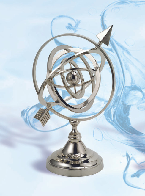 "(BW-655CV) 11.5"" Brass Armillary Sphere with Nickel Finish"