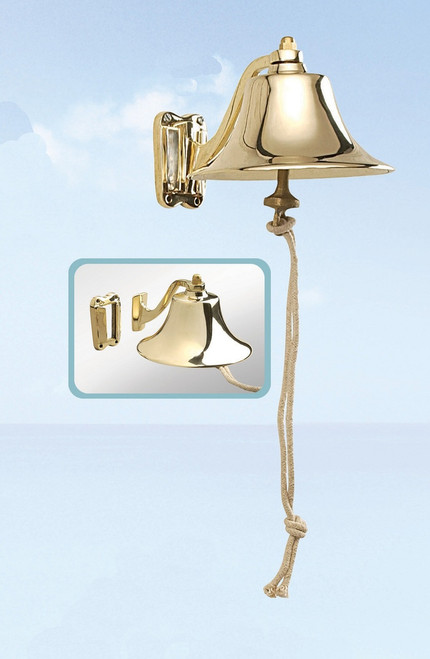 """Brass Ship Bell with Sliding Wall Mount 6"""""""