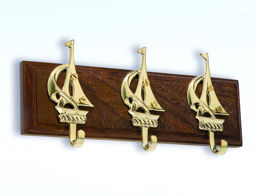 (BW-596) Brass Sailboat 3 Hook Key Hanger with Wooden Base