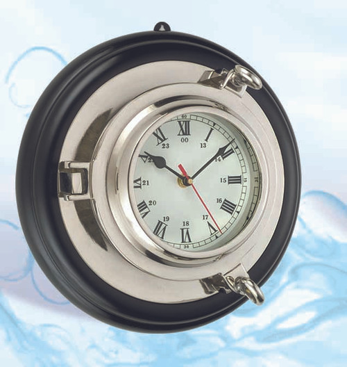 Deluxe Brass Porthole Clock with Nickel Finish and Base