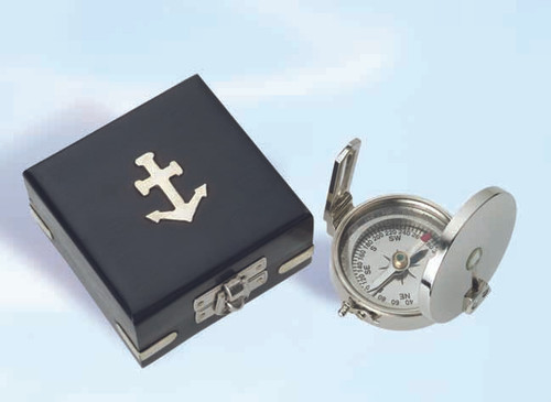"(BW-656CV) 2.5"" Brass Scout Compass with Nickel Finish with Display Box"