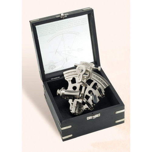 "(BW-659CV) 5"" Brass Sextant with Nickel Finish and Box"