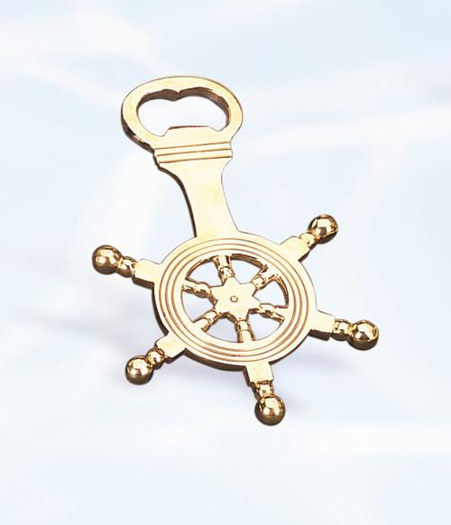 """(BW-611) 5.5"""" Brass Ship Wheel Bottle Opener"""