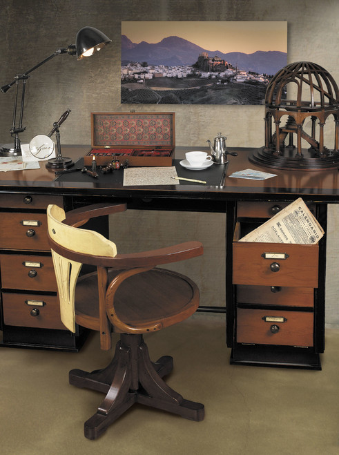 Vintage Nautical Captain's Desk, Black