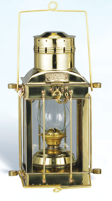 "(BL-836 Oil)  15"" Oil Burning Brass Cargo Lantern"