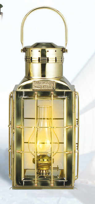"(BL- 825) 15"" Premium Brass Chief Oil Lantern"