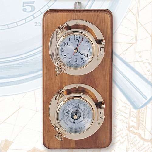 """Porthole Clock and Barometer - Premium Lacquer - on Wooden Base - 12.5"""" H"""