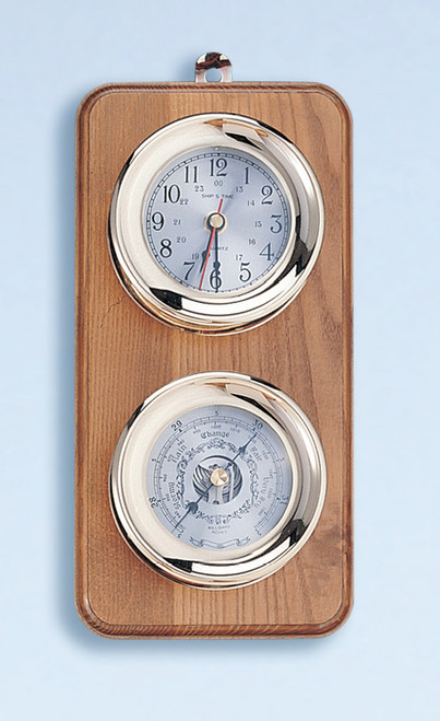 Deluxe Lacquer Coated Clock and Barometer Weather Station