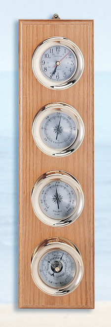(225-4) Deluxe Brass Clock Barometer, Thermometer and Hygrometer Weather Station with Wooden Base
