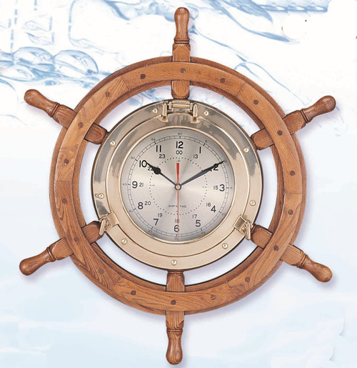 "(TK-2701LC) 24"" or 30"" Deluxe  Wooden Ship Wheel and Brass Porthole Clock with Lacquer Coating"