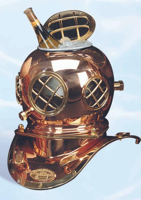 """(IB-705 12"""") 12"""" Antique Brass Mark V Diving Helmet Ice Bucket"""