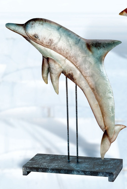 Pearled Dolphin Decor on a Stand