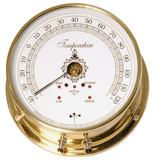 Downeaster Temperature Gauge Weather Instrument, White Face - 6""