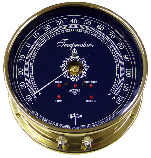Downeaster Temperature Gauge Weather Instrument, Blue Face - 6""