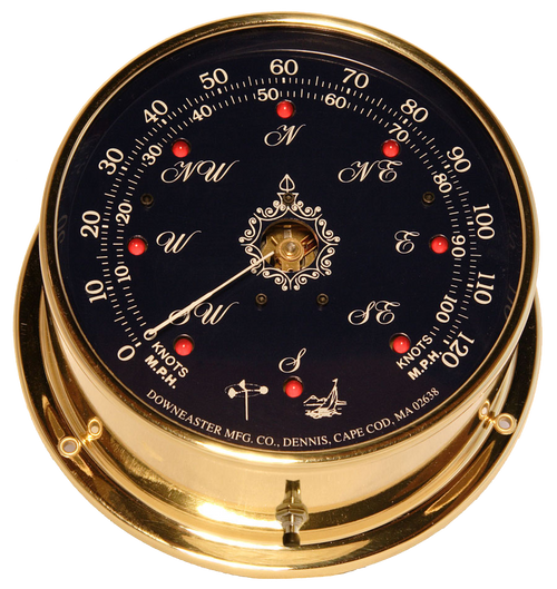 Downeaster Wind Speed and Direction Gauge with Tru Gust, Blue Face - 6""
