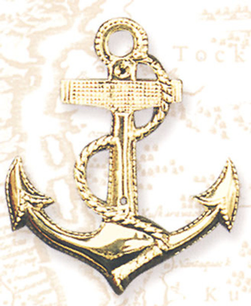 "(BA-02)  7"" Fancy Brass Anchor Wall Hanging"