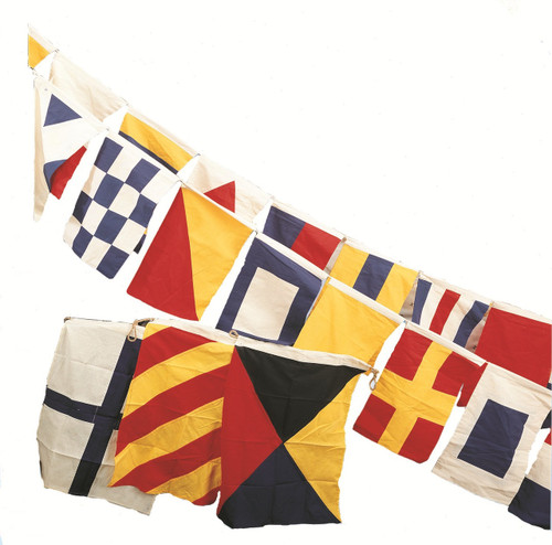 (FL-40) Set of 40 Deluxe Cotton Nautical Flags on Rope