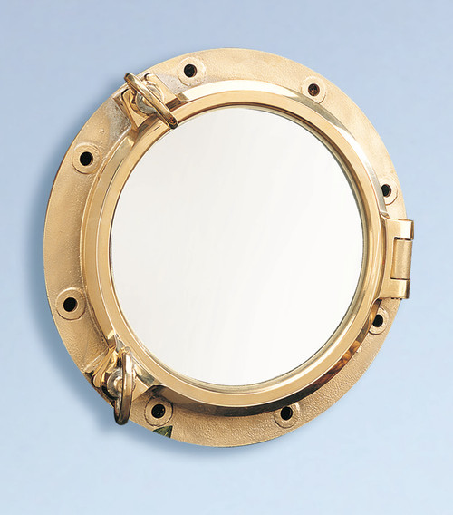 "(BP-702 21) 21"" Heavy Duty Polished Brass Porthole Mirror"
