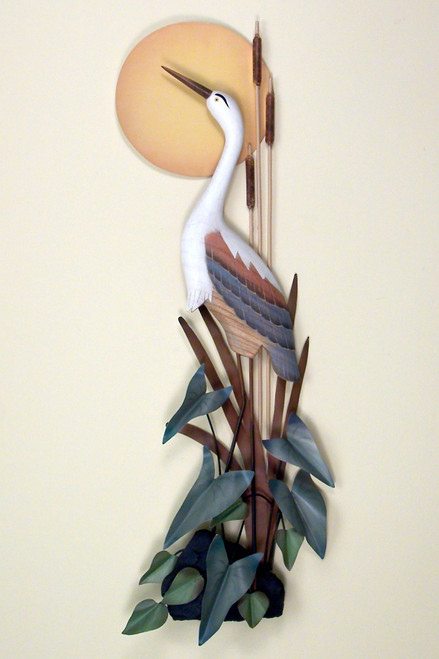 Heron with Moon Coastal Wall Sculpture