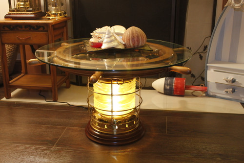 "(TB-890-SW-101-30-D) Premium Brass Lantern Table with 30"" Ship Wheel - Lit Up"